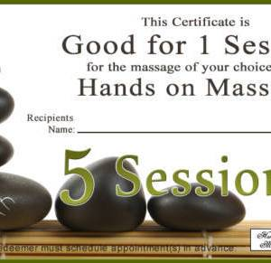 5 sessions gift certificate