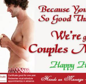 happy holidays couple's massage